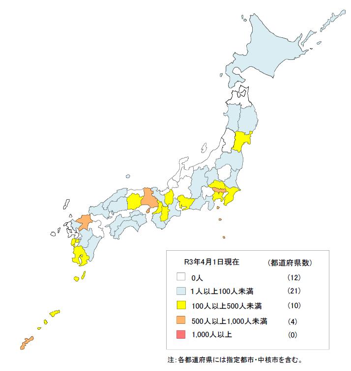 ↑ 都道府県別待機児童実情(2021年4月1日時点)